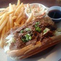This was my tasty Philly Steak Sandwich Au Jus