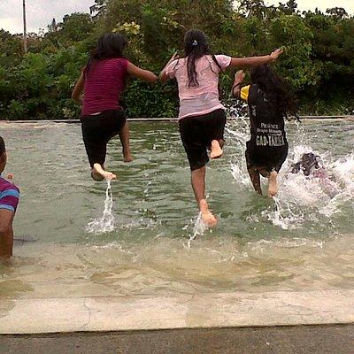 "In the pool of the resort ""El Chorro""."