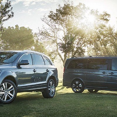 Our new, luxury cars are matching gun metal grey, the perfect pair for weddings and events .