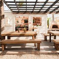 Pergola and indoor seating