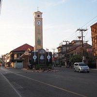 Vietnamese Clock Tower at the walking street of Nakhon Phanom