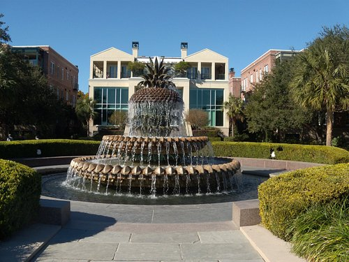 Beautiful Pineapple Fountain in Waterfront Park near the Battery.