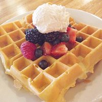 Belgian Waffle with berries and Chantilly Cream