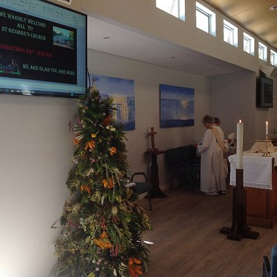 The hall made into the Church for Christmas Day. Note the gorgeous tree made of Australian plant