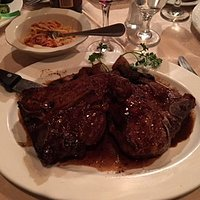 Veal chops in red wine reduction.