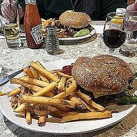 Hamburger with fries is made with quality meat, and fries are fresh, not pre-cut and frozen.