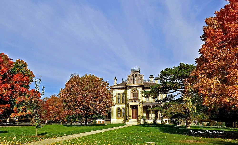 David Davis Mansion in Fall...a spectacular display of color surrounds the mansion.