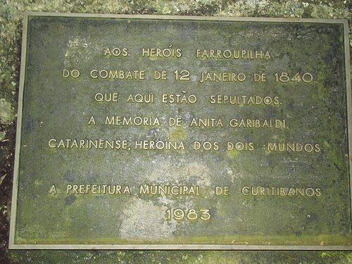 Placa junto ao Monumento no Capão da Mortandade, Fazenda Forquilha - Batalha Farroupilha 12/01/1