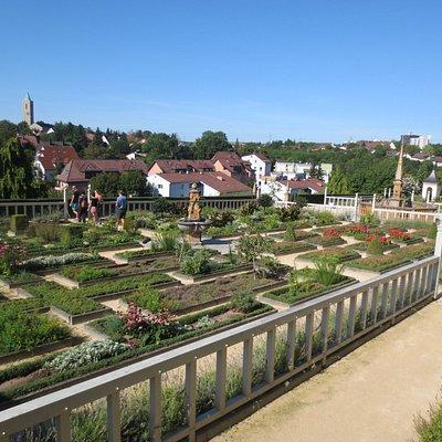 Blick über den Pomeranzengarten in Richtung katholischer Johanneskirche