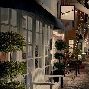 Bijoux and the whole courtyard at the Shops of Olde Marco is so quaint looking lit up at night!