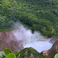 Looking down at the hot pool