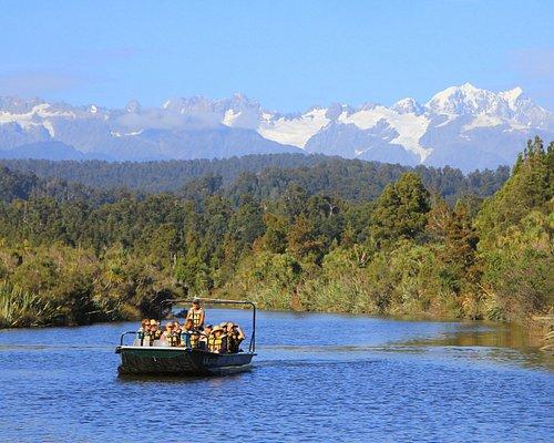 cruising up the Okarito river waterways - Mt. Cook and Tasman