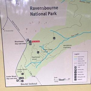 Part of the Ravensbourne National Park information board