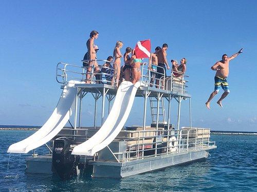 Steve Jumping off the New Pontoon