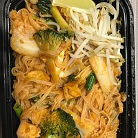 Veggie pad Thai and Thai fried rice with beef