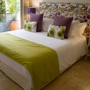 Room PROVENCE: private terrasse, double bed, private jacuzzi, deposit box, fan, mini bar