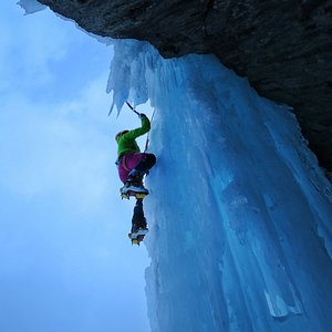 Ice climbing in Lyngen during the early season.