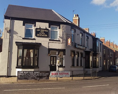 A recently re-rendered & painted painted Surtees Arms.