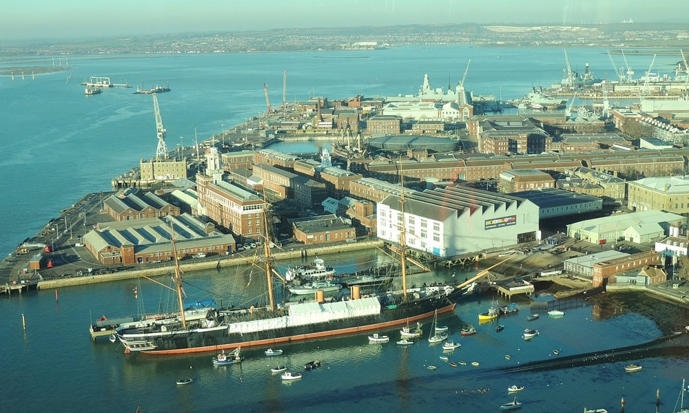 View over to Historic Naval Dockyard from top of Spinnekar Tower.