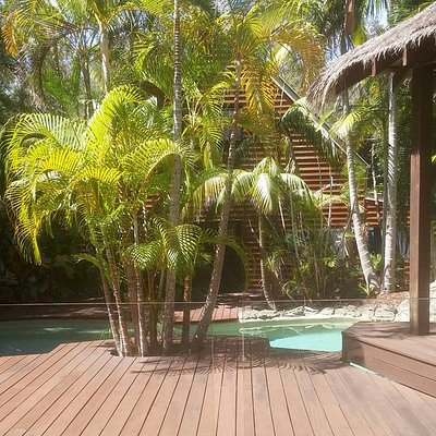 View of pool and decking