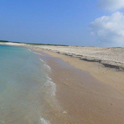 沙灘範圍不大, 退潮時可看到明顯的界線