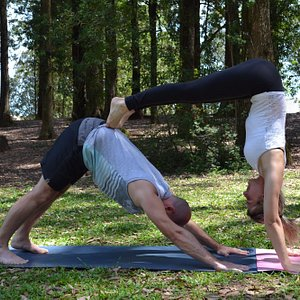 Yoga practice in the park.