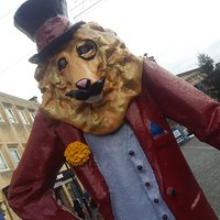 'Dandy lion statue' Elgin
