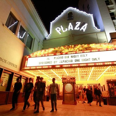 Exterior of the Plaza Theatre at Night