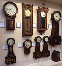 Some of the more than 400 clocks.