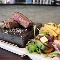 Our famous hot rock steaks!!