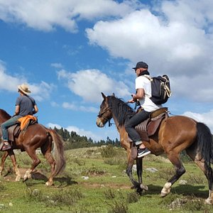 """Our horses """"Zeus"""" and """"Bandido"""" going to the temple of the moon."""