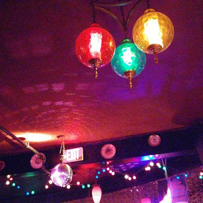 Colored lights inside the Shelter..Great atmosphere.