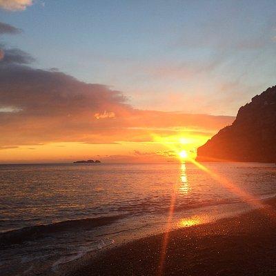 Beautiful sunset in Positano