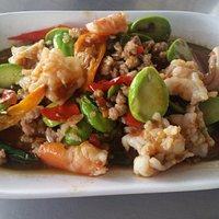 Stir fried pork & prawns with stink beans