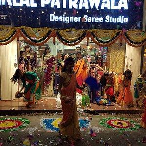 Ramniklal Patrawala Saree Studio.  since 1972. (actual image from the location)