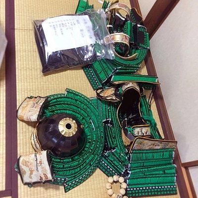 My gear for the day! bright green colored full body Samurai armor