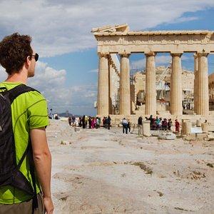 Admiring the main monument Parthenon,Acropolis,Athens,Greece