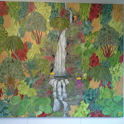 Having a long bath, Crock racing, Tea in the topiary garden, Cascading water, Cascading water (l
