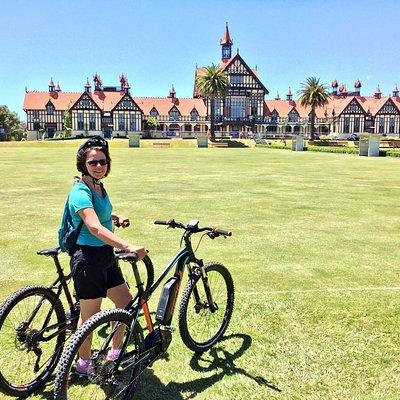 Biking the Rotorua area.