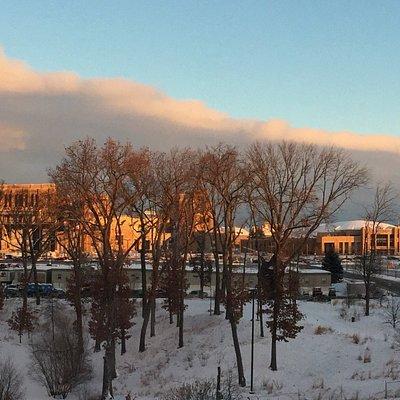 Early morning sun lit arena & stadium