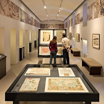 The gallery at the Norman B. Leventhal Map Center features changing exhibits and activities for