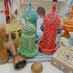 Handmade pottery, rosewood toys, stone scarab reproductions and woodworks with mother of pearl