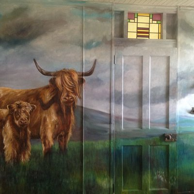 Mural of Highland cows