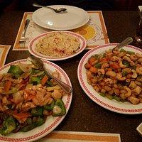 Mongolian chicken and cashew chicken