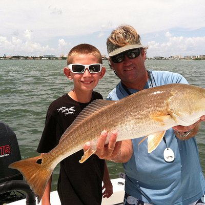 A Clearwater Fishing Charter Redfish caught just minutes from the boat ramp!!