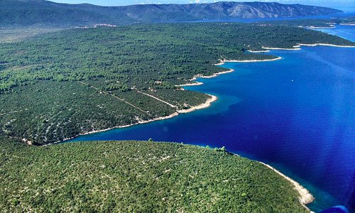 View from the seaplane flying over the Stari Grad area of Hvar