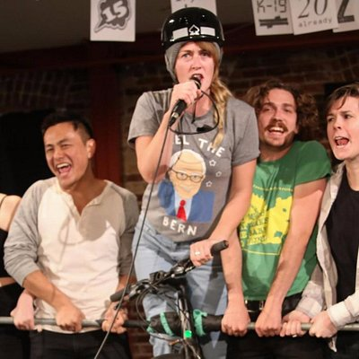 """From the play, """"BIKE RAGE, in the style of the Beastie Boys"""""""