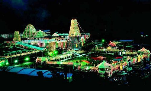 Simhachalam at night during festive seasons