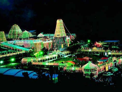 Simhachalam at night during festive seasons