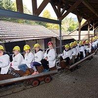 Einfahrt mit der Grubenbahn! Ein Erlebnis für Jung und Alt!
